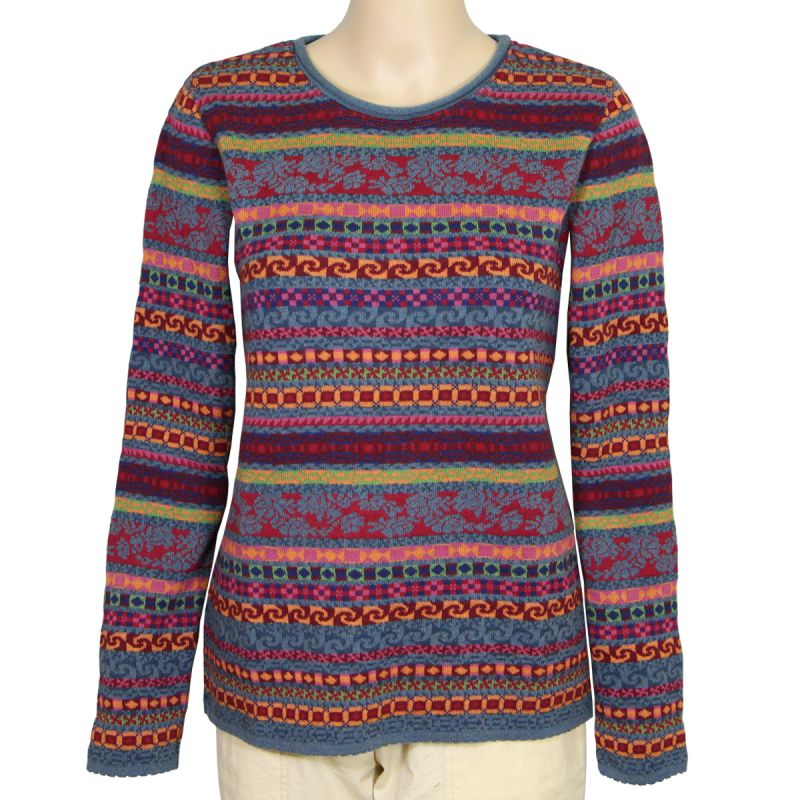 Jacquard-Pullover Wolle Bio Baumwolle 3 Farben