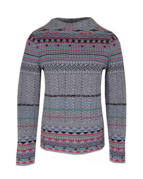 Dunque Jacquard-Pullover Wolle Bio Baumwolle
