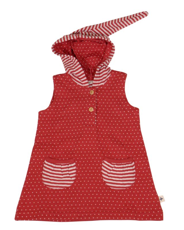 Leela Cotton Kinder Tunika Pünktchen rot-weiß