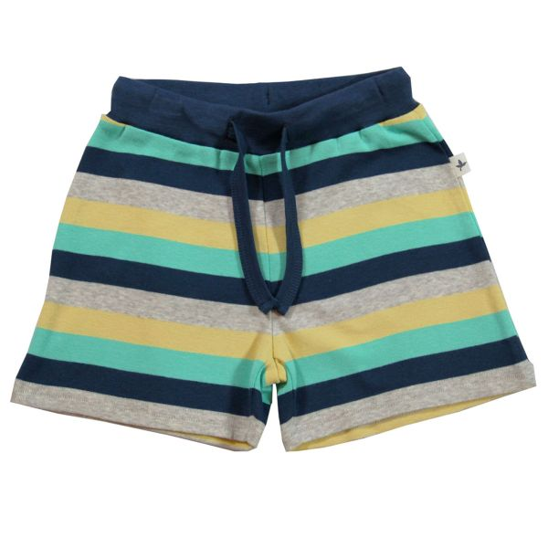 Kids Shorty Blockringel navy-bunt Bio Baumwolle